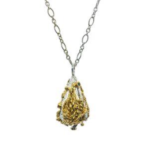 Lantern Necklace Silver, Vermeil & Sapphire (Medium)