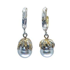 South Sea Pearl Gold Vermeil Hoops