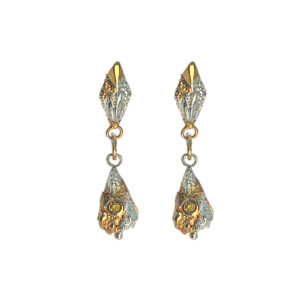 Lantern Sapphire Drop Earrings With Mottled Gold Plate