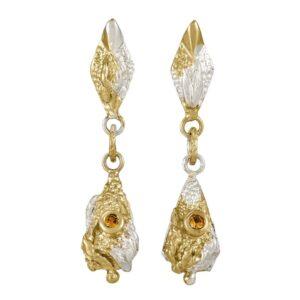 Lantern Sapphire Drop Earrings With Mottled Gold Plate
