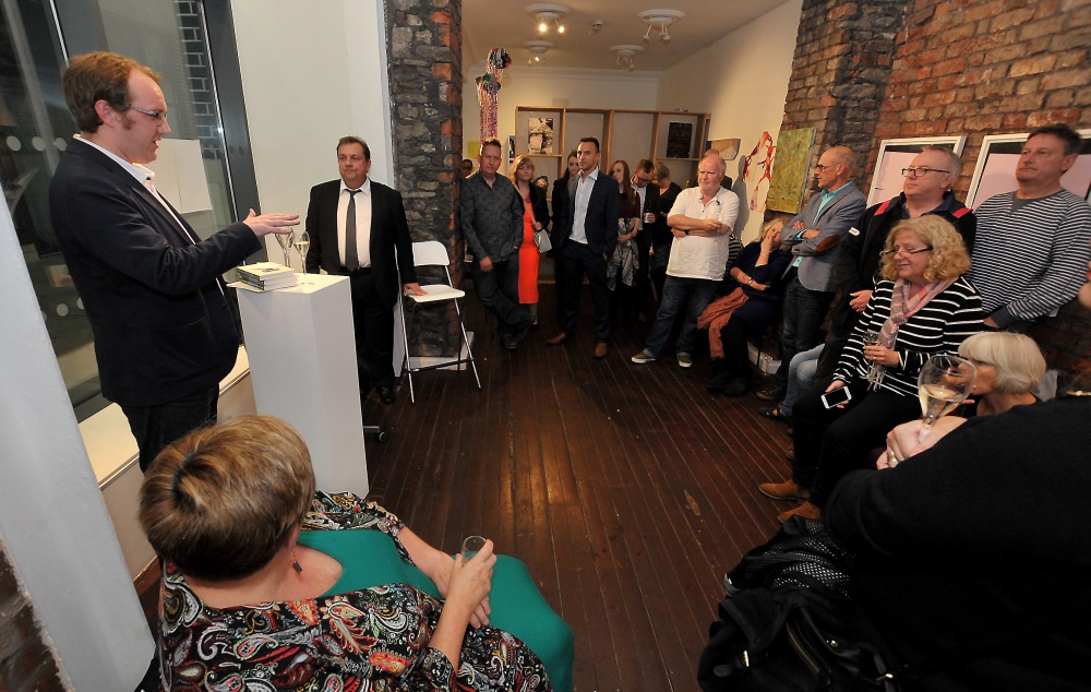Mark Rees launches The Little Book of Welsh Culture at Galerie Simpson during Swansea's Big Weekend