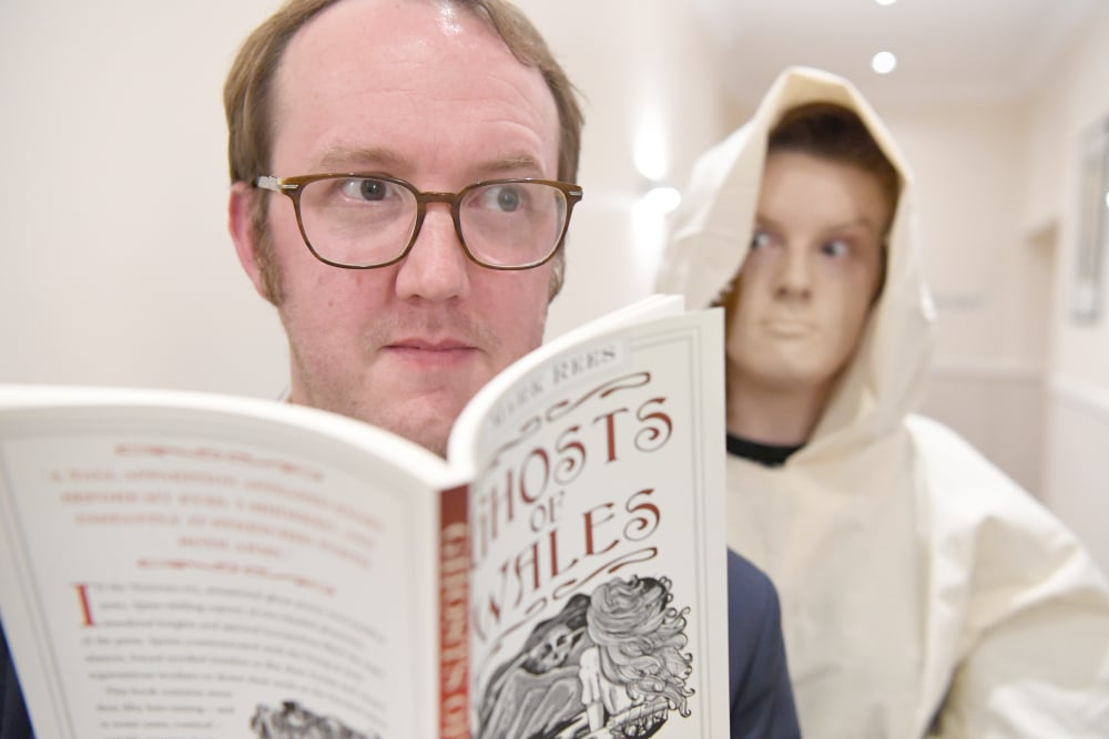 """Author Mark Rees at the launch of Ghosts of Wales at the """"Ghosts of Wales - Live"""" event in Swansea"""