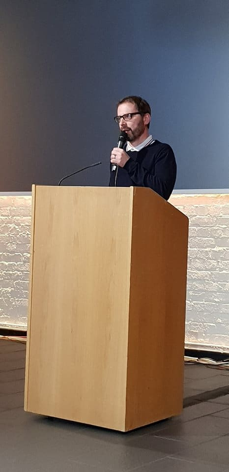 Playwright Owen Thomas talks at Ghosts of Wales - Live!, part of the Swansea Fringe Festival. Photo by Cymru Paranormal.