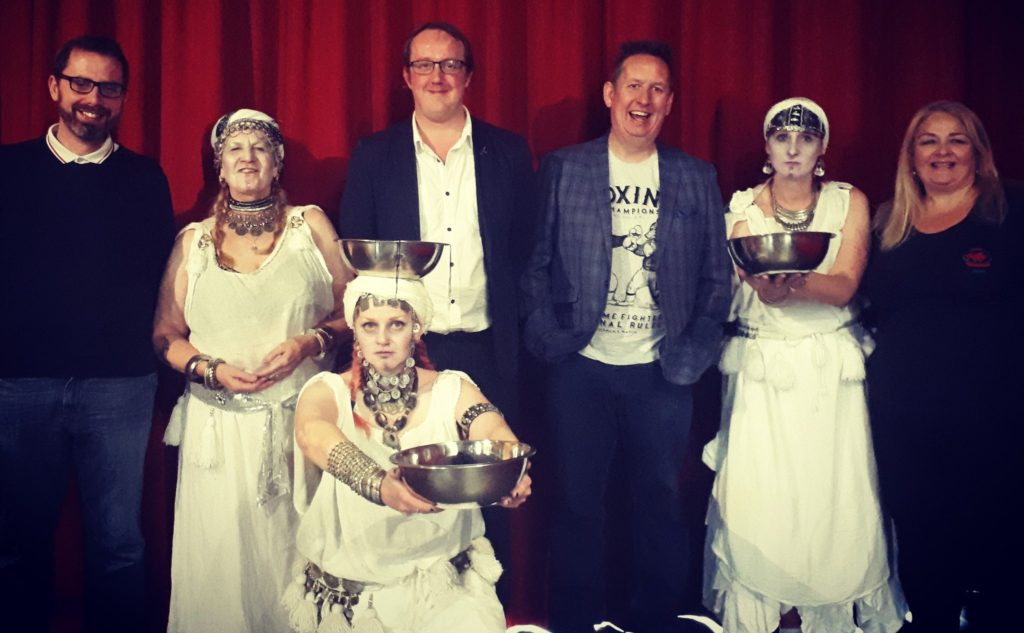 Author Mark Rees with the Ghosts of Wales - Live! gang at the Swansea Fringe Festival: (l-r) Owen Thomas, Lotus Sisters, Mark Rees, Owen Staton, Cymru Paranormal