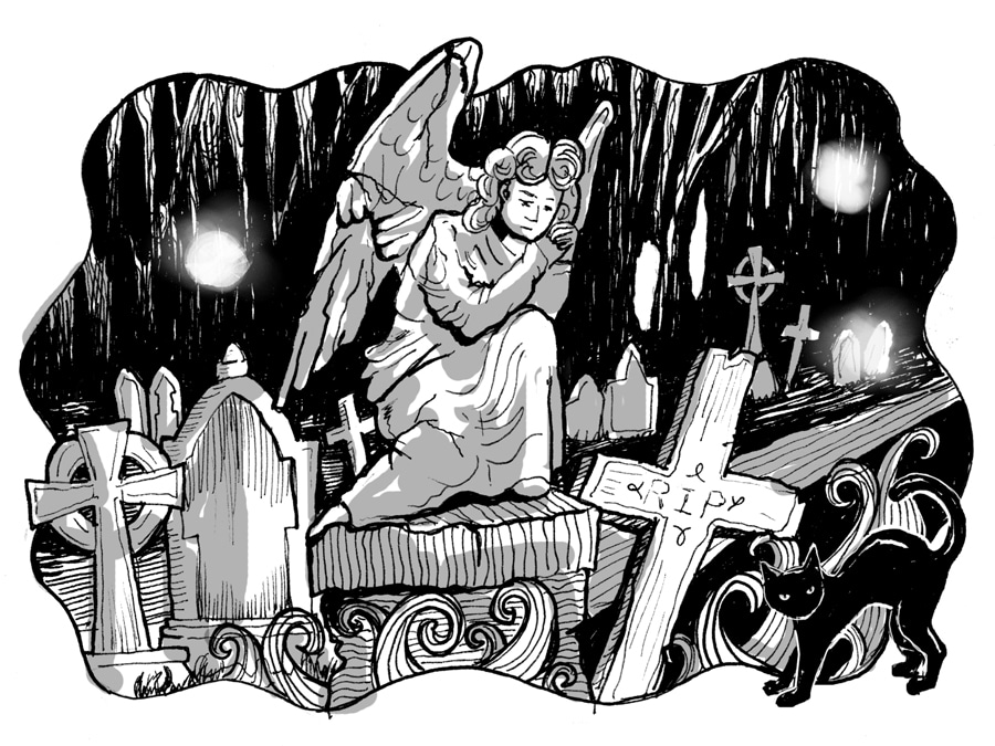 Ghosts of Wales by Mark Rees: A Welsh graveyard with corpse candles