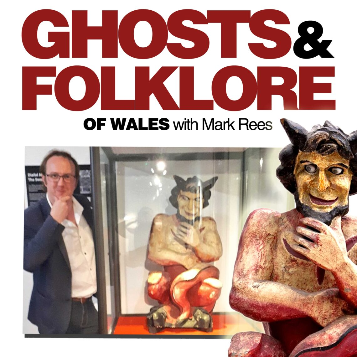 Journalist and author Mark Rees (Ghosts of Wales) with the Swansea Devil on the Ghosts and Folklore of Wales podcast