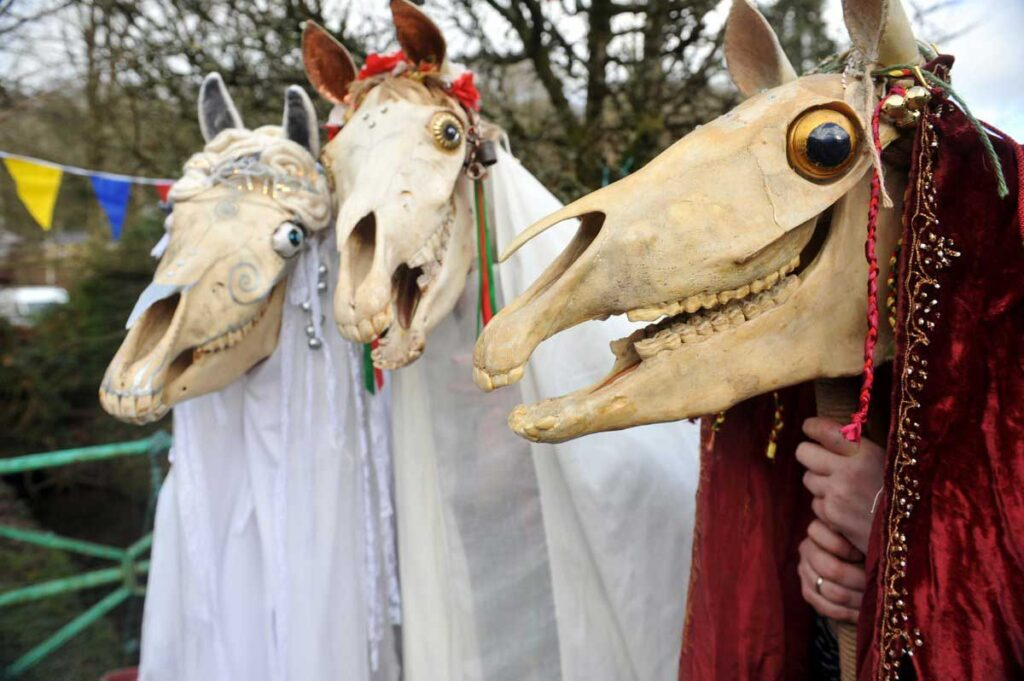 The Mari Lwyd, the Welsh folklore favourite as featured in Illustrated Tales of Wales by Mark Rees