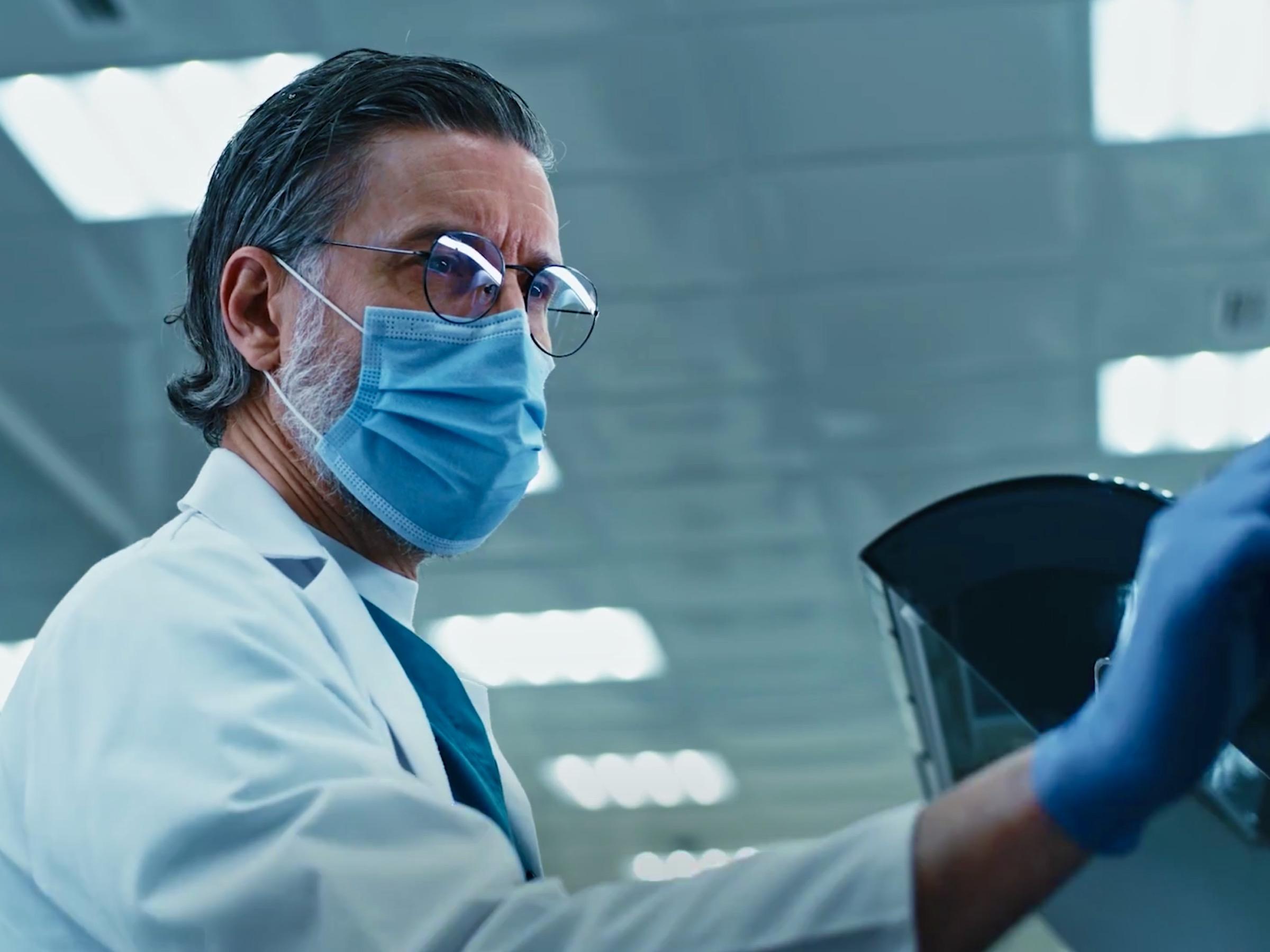 duolingo CEO with blue shirt