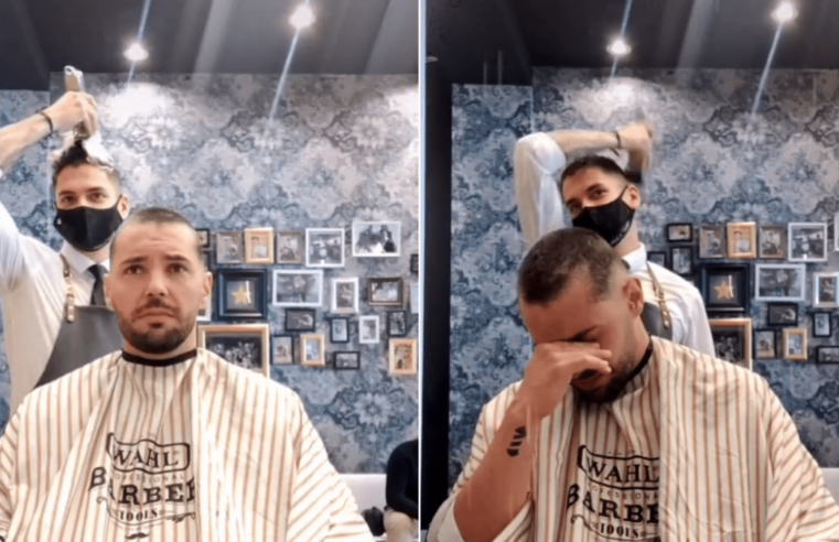 'You are not alone'- Barber Shaves own Head to Pay Heartwarming Tribute to Cancer Patient