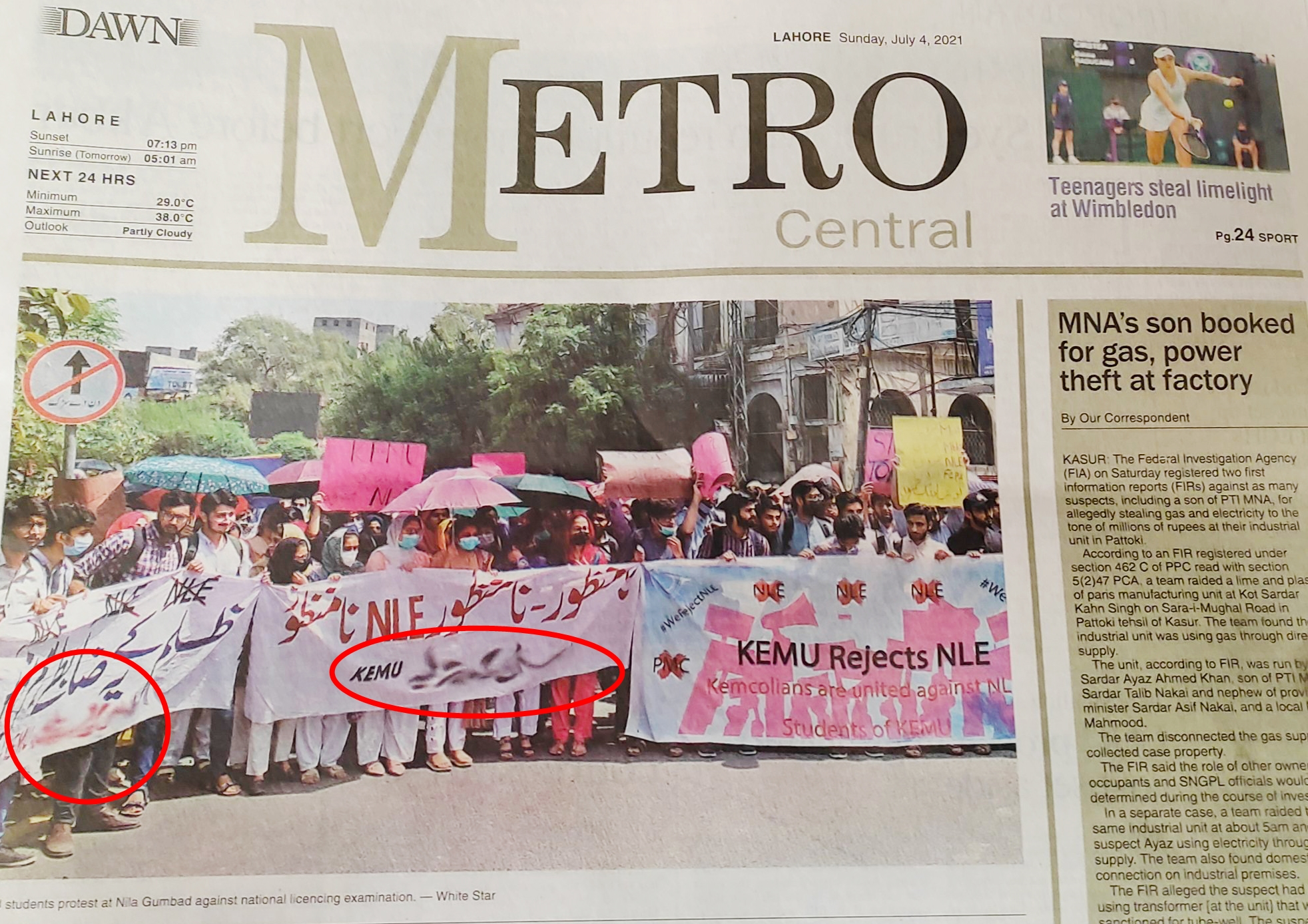 Pakistan's largest newspaper Dawn censors name of a Student Union on banners in NLE protest