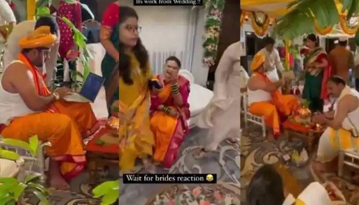 FAKE NEWS ALERT: Groom who brought laptop to his wedding was not working