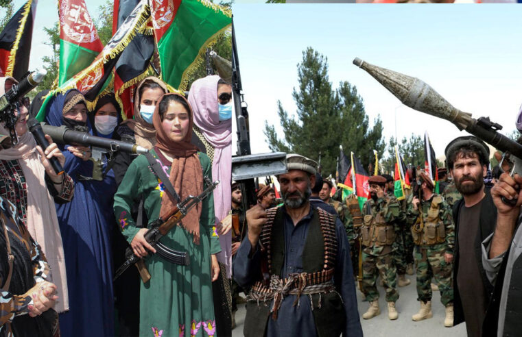 Hundreds of Afghan armed women took to streets in a show of defiance as Taliban capture key regions