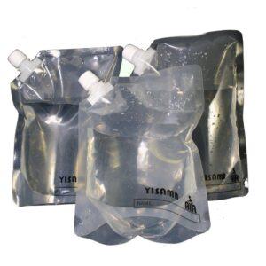 Juego de 3 botellas plásticas reutilizables para envasar y congelar.