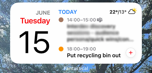 Fantastical iOS widget