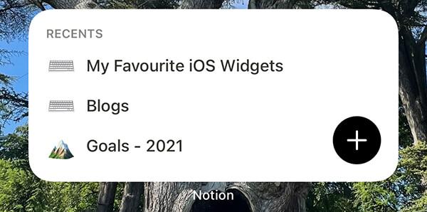 Notion iOS widget
