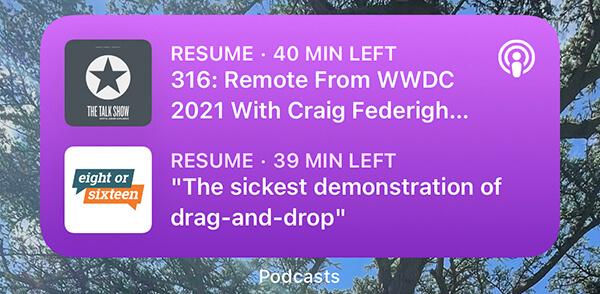 Apple Podcasts iOS widget