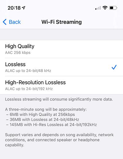 Apple Music lossless settings