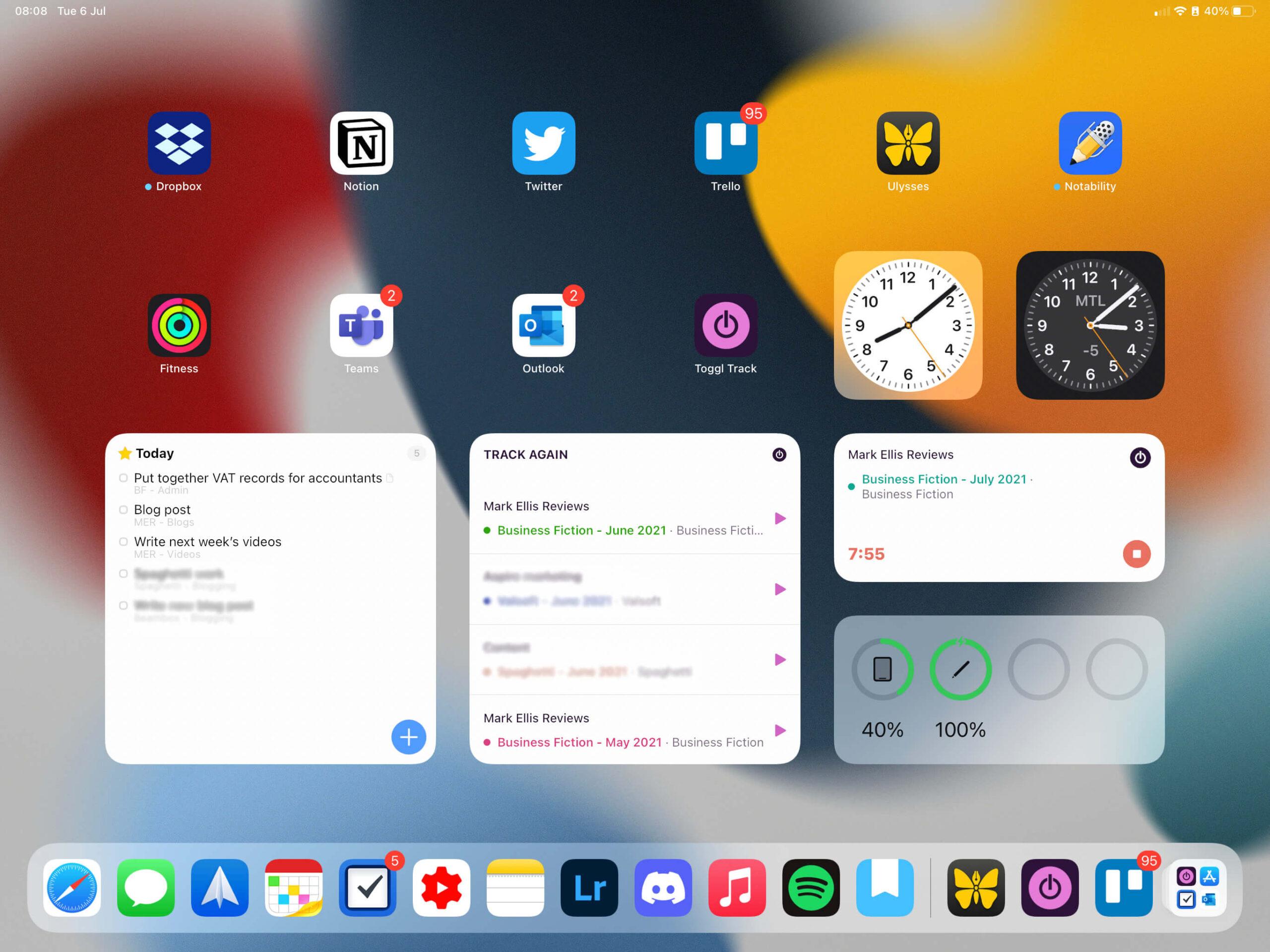 iPadOS 15 widgets