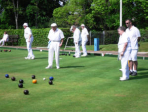 2017 - Action from Phear Park triples match against Uffculme bowling club