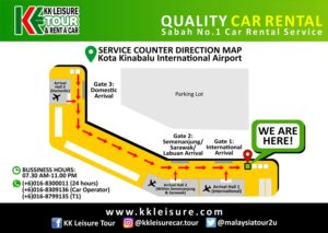 KK Leisure Tour & Rent A Car - KKIA service counter map