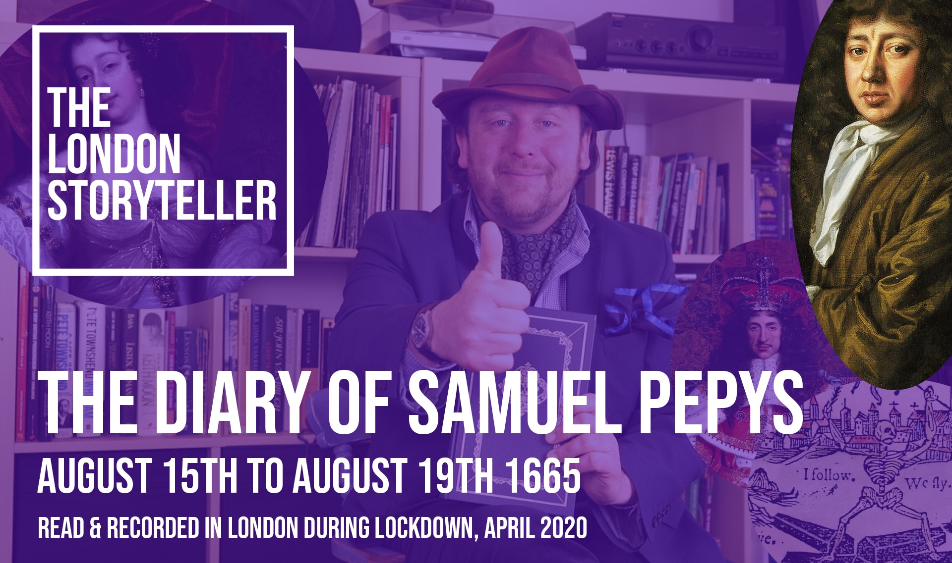 A custom thumbnail with Samuel Pepys and the London Storyteller for a video of Pepys Diary from August 1665