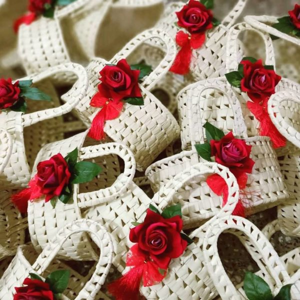 Natural Basket with red roses