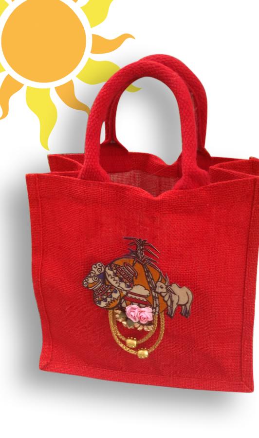 Jute Bag with Sankranthi Patch