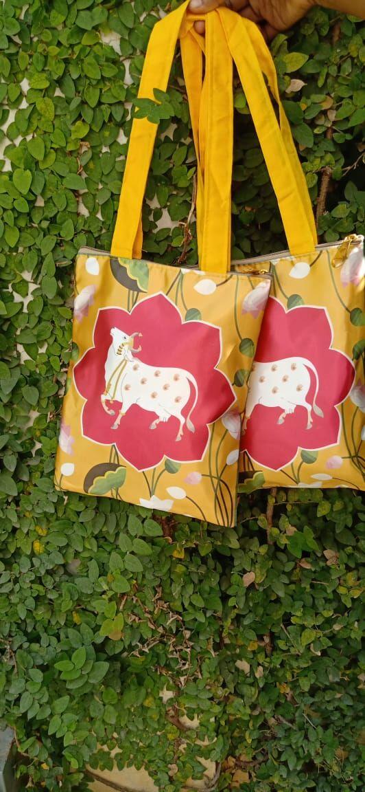 Digital print raw silk bag with cow print