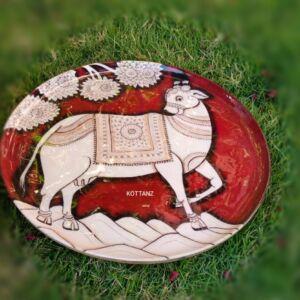 Round Metal Kalamkari Printed Tray (2)