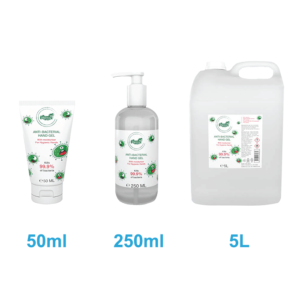 Anti-bacterial hand sanitiser gel solutions