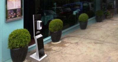 Hand sanitiser free standing unit outside shop