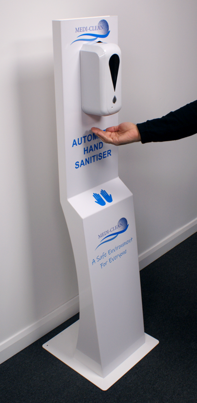 Automatic freestanding hand sanitiser unit with hand gel