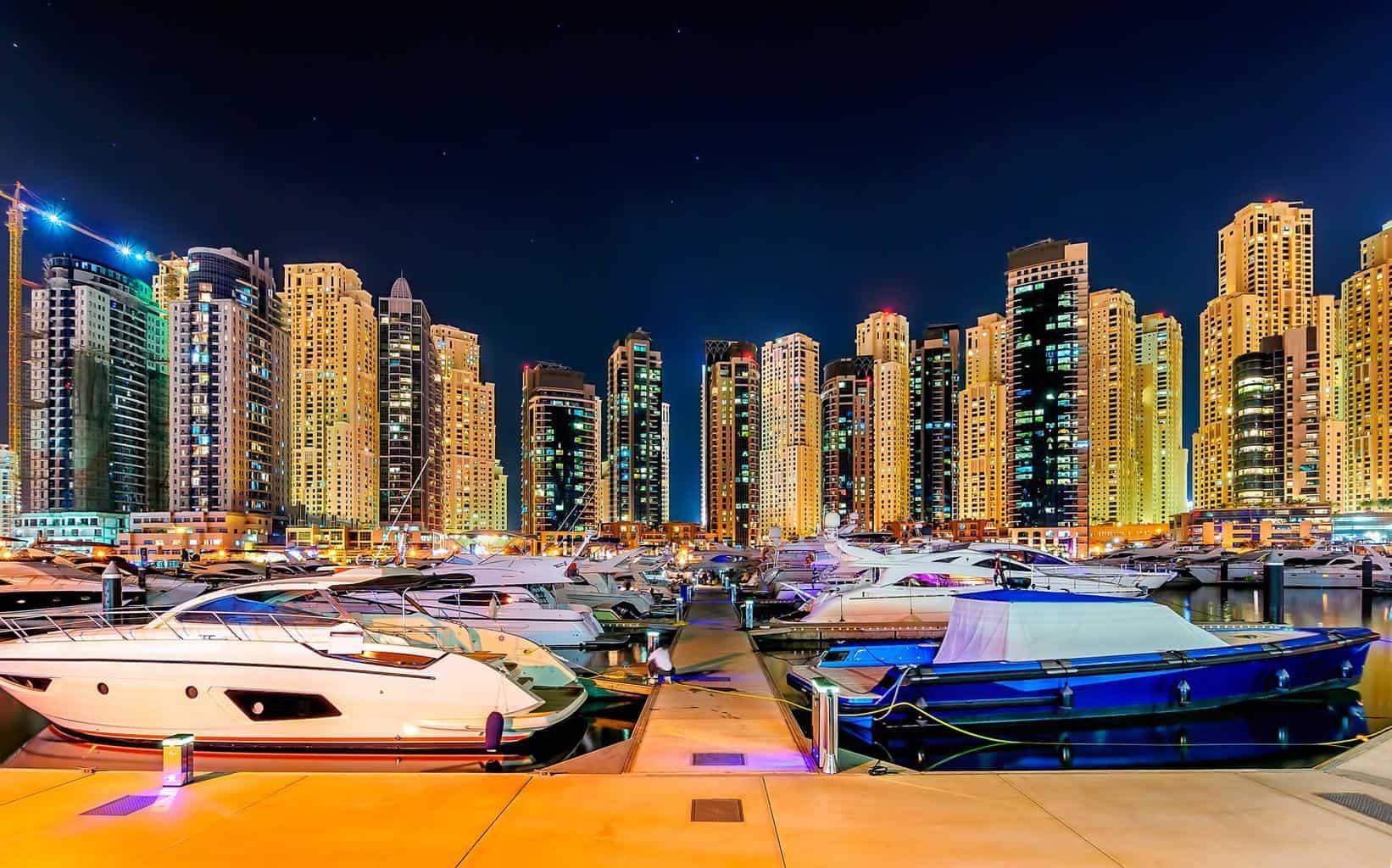 Colorful dubai marina skyline, Dubai, United Arab Emirates