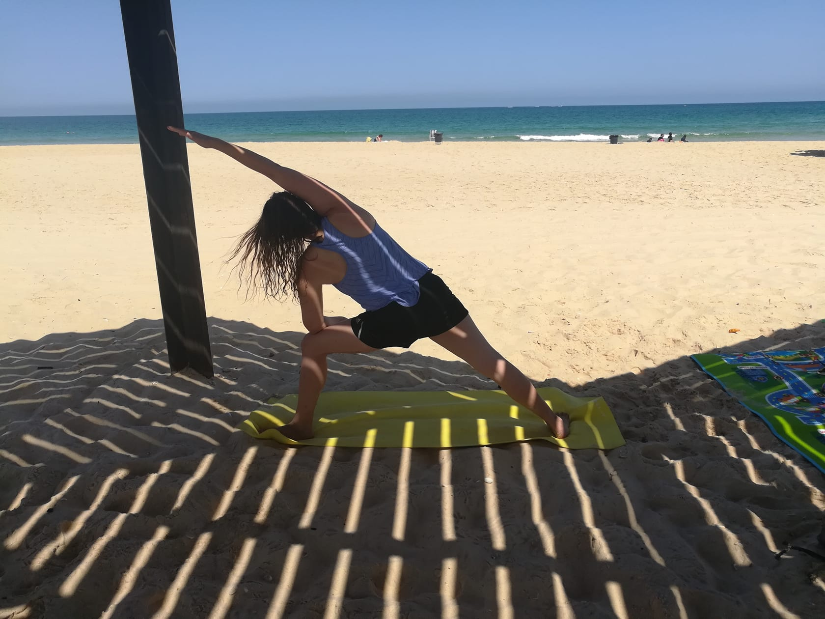 Sarah doing yoga at Nitzanim