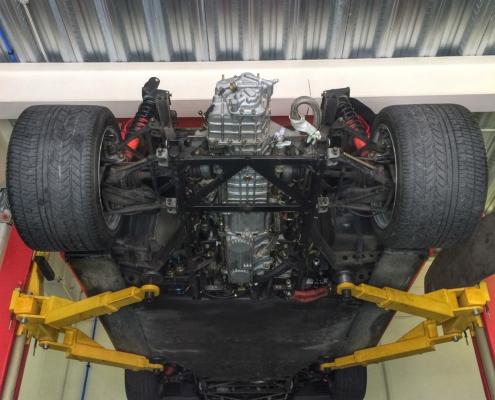 Ferrari F40 on lift