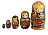 Black toy Traditional Matryoshka 5 pieces - Fruis T2104025