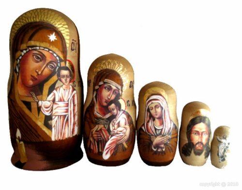 Brown, gold toy Religious Matryoshka T2104005