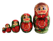 Red toy Matryoshka Traditional Green 5 pieces T2104037