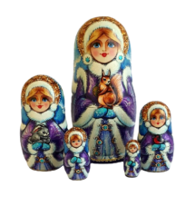 Blue, Purple, White toy Russian doll 5 pieces - Snow Maiden T2104057