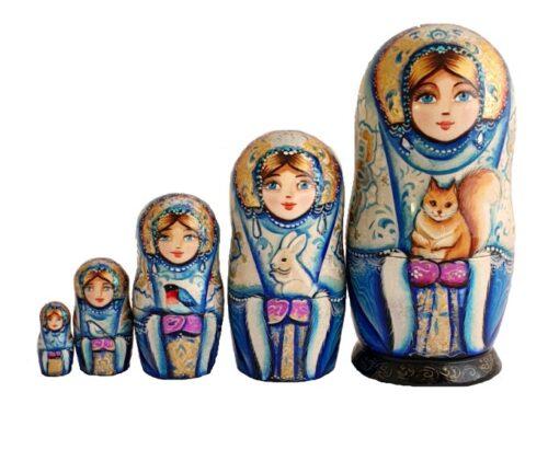 Blue, gold, White toy Matryoshka with animals T2104063