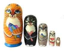 Orange toy Matryoshka - Cat T2104045