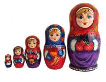 Purple, Red toy Matryoshka - Winter walk T2104013
