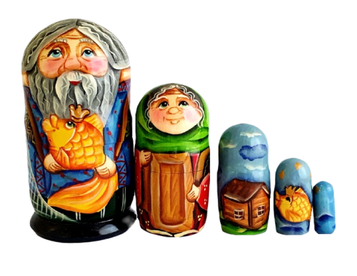 Blue, Gray, Yellow toy Russian nesting doll - Gold fish T2104055