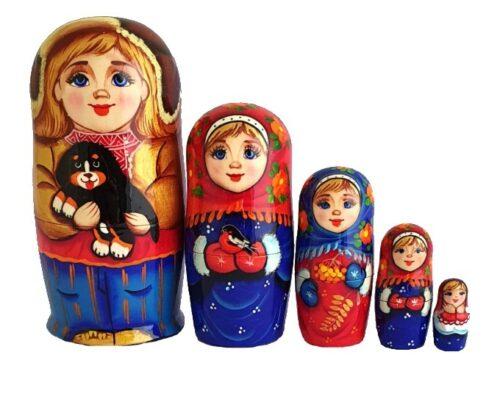Blue, gold, Red toy Matryoshkas Russian dolls -Children T2104062