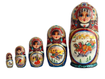 Blue, gold, Purple, White toy Nesting doll- Sunny frosty day T2104051