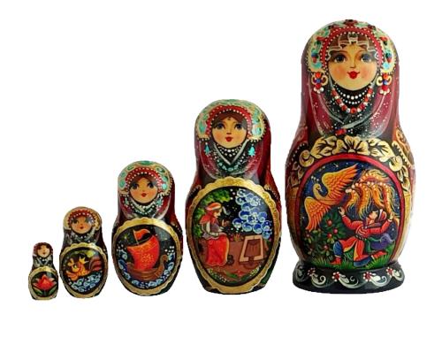 Black, gold, Purple toy Nesting doll - folk tale 2104057