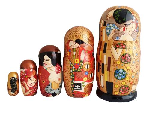 Brown, gold toy Nesting Doll - Replica of Gustav Klimt T210460