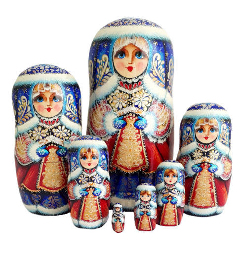 Blue, Red toy Nesting doll - Snow Maiden T2104012