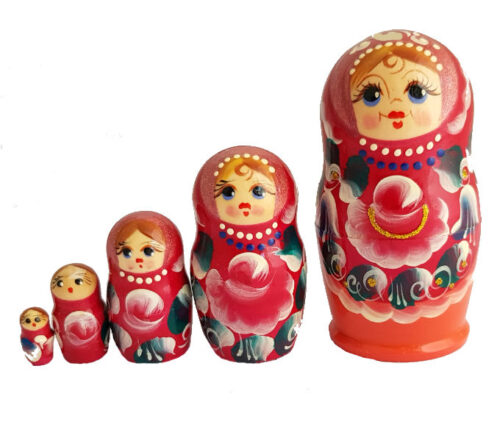 Red toy Stacking Dolls - 5 pieces T2104038