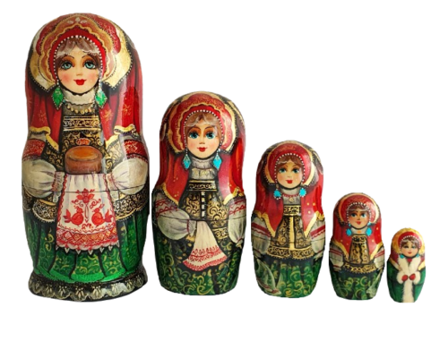gold, Green, Red toy Russian doll - Welcome T2104064